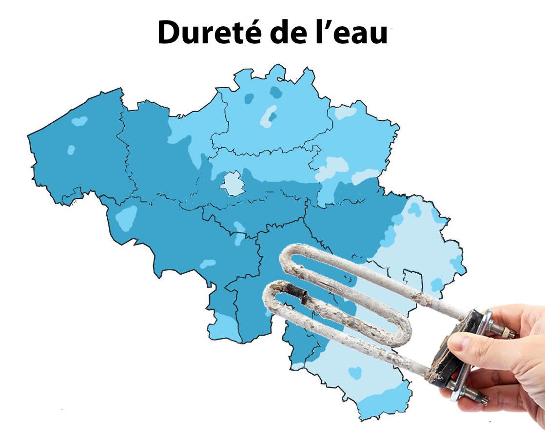 Dureté de l'eau par commune - Verviers